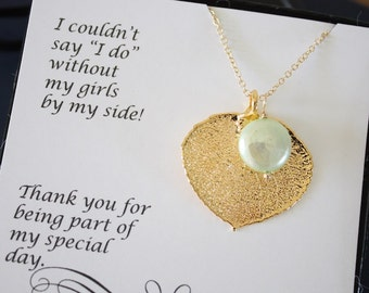 5 Gold Leaf Bridesmaid Necklaces Mint Green Pearl, Real Leaf, Pearl Necklace, Thank you card, Leaf Necklace, Leaf Pendant, Bridesmaid Gift
