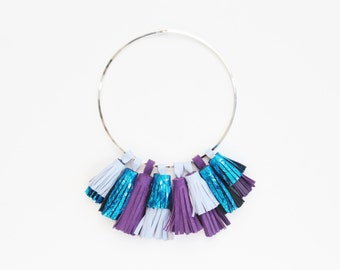 WILD ONES / Mixed color natural leather tassel statement hoop necklace - Ready to Ship