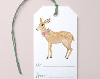 Woodland Gift Tags, Cute Gift Tags, Woodland Deer Gift Tag, Watercolor Deer Gift Tag, Birthday Gift Tag, Pretty Gift Tags, Everyday Gift Tag