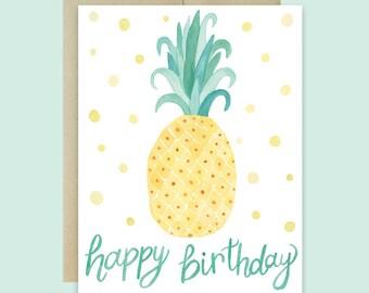 Pineapple Birthday Card, Happy Birthday Card, Cute Birthday Card, Pineapple Card, Watercolor Pineapple Birthday Card, Polka Dot Birthday
