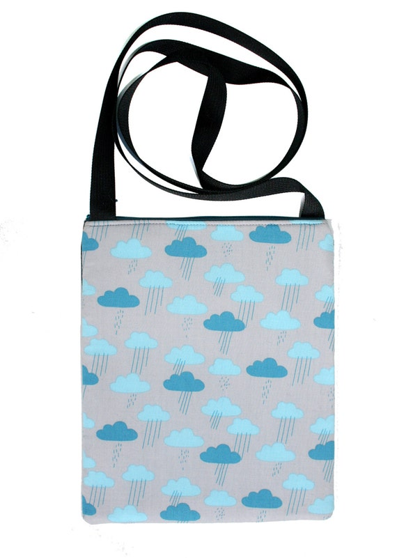 SALE! clouds, rain, Zipster, cross body bag, flat bag