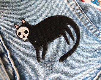 Skull Cat iron on patch - Halloween patch - I like cats - Cat patch - Cat embroidered patch - Halloween embroidered patch - skull - cat