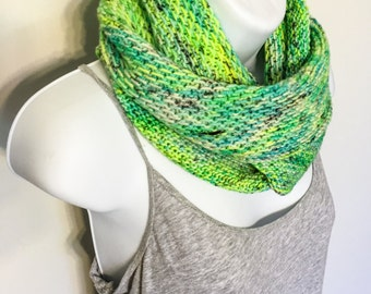 Merino wool Long Cowl/Infinity Scarf in green/yellow, Hand Knit