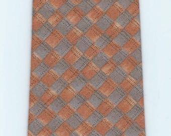 Handmade Orange and Grey Checked Necktie