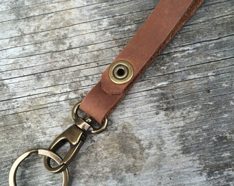 Brown leather keychain, Custom keychain, Leather accessories, Mens accessories, Womens accessories, Gifts for him, Key chain, The Olive