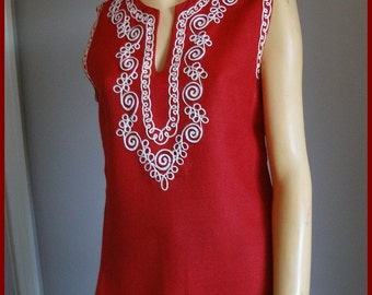 Vintage Embroidered Linen Top Red White Linen SleevelessTop