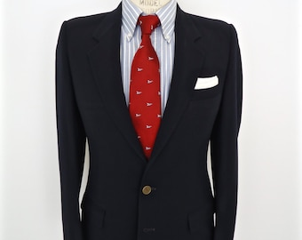 vintage blazer bleu marine boutons dor s redwood ross veste manteau sport des hommes. Black Bedroom Furniture Sets. Home Design Ideas