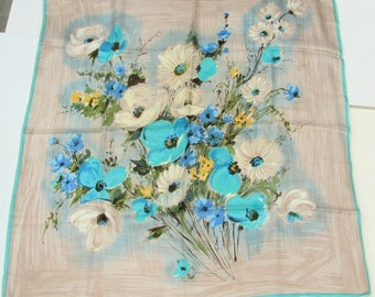 Vintage 1950 Floral Bouquet Silk Scarf Taupe and Teal 30""
