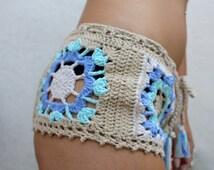 Pastel Stevie Beach Cover-Up Shorties. Hand Crocheted Cotton Bohemian Beachwear. Cheeky! More Colors.