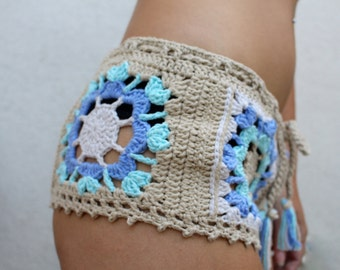 Pastel Stevie Beach Cover-Up Shorties. Hand Crocheted Cotton Bohemian Beachwear. Cheeky! More Colors.