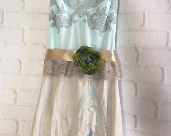 sea foam & taupe appliqué boho party dress by mermaidmisskristin