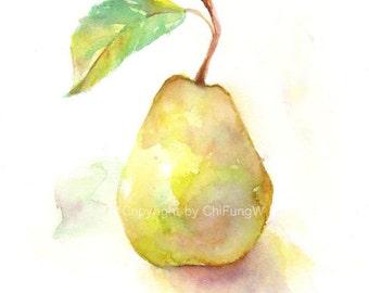 Fruit, fruit art print, giclee art, watercolor giclee, watercolor print, watercolor, Yellow pear, Original watercolor, giclee print