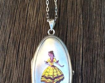 Rare Large Antique German Silver Alpaca Champlevé  Enamel Locket Necklace, Dancing Girl in Yellow Dress