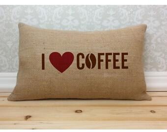 I Love Coffee Burlap Pillow, Coffee Pillow, Burlap Pillow, Coffee Lover Decor, Burlap Decor, Oblong Pillow, Coffee Lumbar Pillow