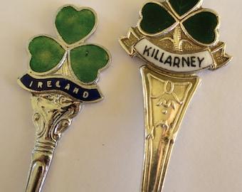 Pair souvenir teaspoons from Ireland