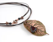 Gardening gift Copper Real Cherry Leaf Necklace for women Pendant Electroformed Copper pendant Botanical jewelry natural leaf Gift for her