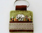 Elephant keyring - hand sewn gifts - animal lover gifts - elephant gifts - handmade accessories