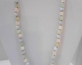 Vintage Pastel Quartz Beaded Necklace (7104)