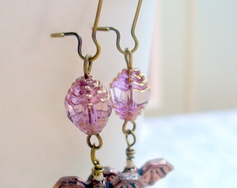 Bat Earrings, Purple Beaded Antique Brass Earrings, Halloween Dangle Earrings, Womens Jewelry, Spooky Earrings, Batty Earrings