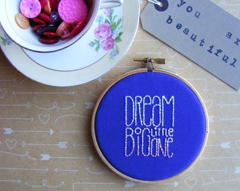 Dream Big Little One - Embroidery Hoop Art - Purple Ombre