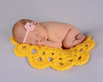 Newborn Photo Prop Spring Yellow Crochet Flower Doily Photography Prop Newborn Baby Blanket Newborn Doily Baby Girl Newborn Doily Accent