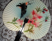 Beautiful Vintage Folding Hand Fan Oriental Pink Cherry Blossoms Flowers Flying Bird Swallow Made in The People's Republic of China 1970s