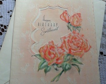 Vintage Happy Birthday Sweetheart Embossed Die Cut Pink Red Roses Glitter Greeting Card & Envelope 1940s 1950s Unused Garden of My Heart USA