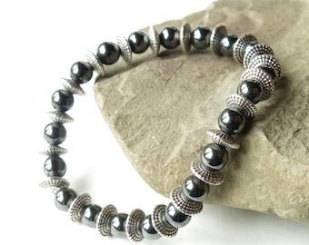Stretch silver bracelet gray hematite gemstones