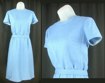 VTG 60s-70s Blue Linen Dress with matching Bow Belt  size M