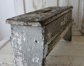 French farmhouse wooden stool old chippy paint gray w/ white distressed antique wood handmade shabby cottage chic decor anita spero design
