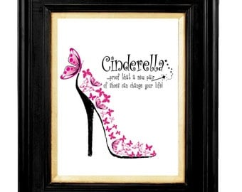 Cinderella is Proof, New Pair of Shoes Can Change Your Life, Shoe Quotes, Butterfly Shoe Print, Pink Butterfly, Affirmation Quotes, Pink