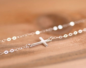 Sideways Cross Necklace, Silver Cross Necklace, Kardashian Necklace, Kelly Ripa Necklace, Small Cross Necklace, First Communion Gift