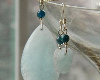 Aquamarine and Kyanite Gemstone Jewelry Set - Sterling Silver, Azure, Sky blue, Lagoon, Teal, Ocean blue