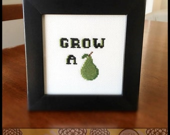 Grow a Pair Cheeky Cross Stitch Pattern ( Printable PDF ) - Immediate Download from Etsy - Get a Pear!