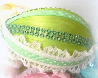 NOW 50% OFF!! Easter Egg Spring Greens Ribbon Wrapped Egg Large Egg Easter Basket Filler Easter Decor