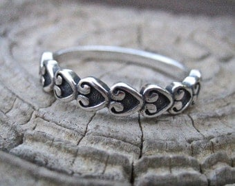 Vintage 925 Sterling Silver Heart Stacking Ring