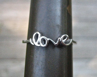 Vintage 925 Sterling Silver Script Love Ring