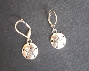 Sand Dollar earrings - Silvertone with Stainless earwires