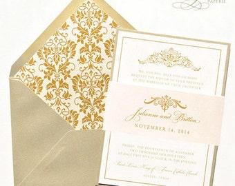 Elegant Wedding Invitation - Blush, Gold, Vintage, Victorian Wedding Invitation Set, Custom Wedding Invitations