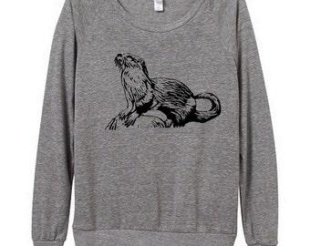 Otter Womens Long sleeve Pullover shirt silkscreen