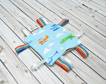 Baby Taggie Toy - Airplane Crinkle Toy - Baby Sensory Toy