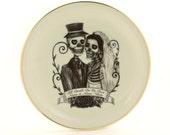 Personalized Till Death Do Us Part Wedding Bride Groom Altered Plate Vintage Customized Skeleton Names Date Porcelain Variations Halloween