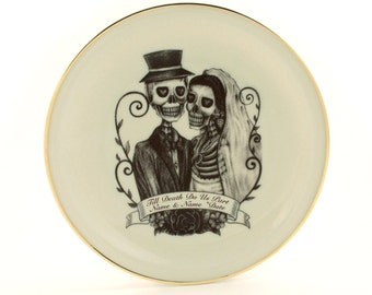"""Personalized Wedding Gift, Altered Art, Plate 7.48"""" Vintage Porcelain, Customized Plate, Wall Decor, Skeleton Skull, Names Date, Halloween"""