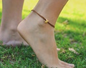 Starfish anklet, ankle bracelet with gold plated starfish charm, brown string, seastar, nautical jewelry, gift for girlfriend, summer, beach