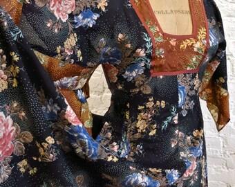 70s Boho Gypsy Dress - Rayon Floral Print Patchwork - Hankie Hem - Angel Sleeves