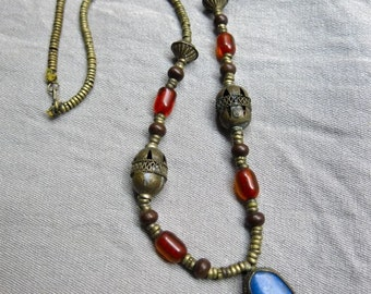 Vintage Bedouin Tribal Brass Necklace with Lapis and Amber - Rare