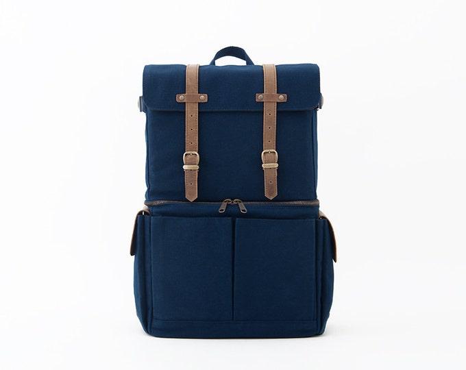 Camera Bag / Casual Daypacks / Laptop Backpack / Blue Canvas / JOURNEYMAN