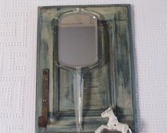 Shabby Rustic Hand Mirror with Hooks, Small Mirror and Hook Combo