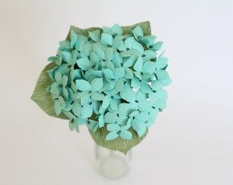 Paper hydrangea bouquet mint bridesmaids bouquet wedding bouquet paper flower bouquet of hydrangea mint hydrangeas mint wedding hydrangea