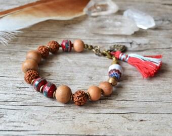 Sale/ yoga bracelet, bohemian tassel jewelry, boho chic ethnic jewelry, yoga jewelry, hippie bracelet